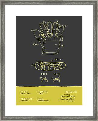 Baseball Glove Patent From 1922 - Gray Yellow Framed Print