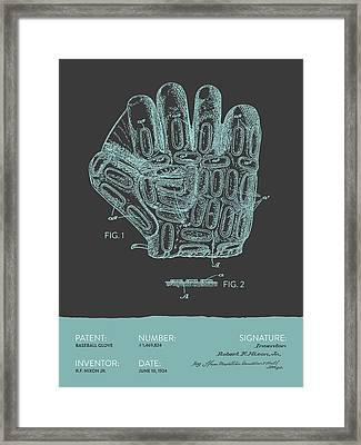 Baseball Glove Patent From 1924 - Gray Blue Framed Print