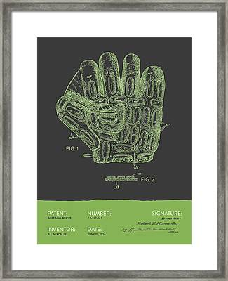 Baseball Glove Patent From 1924 - Gray Green Framed Print by Aged Pixel