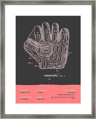 Baseball Glove Patent From 1924 - Gray Salmon Framed Print