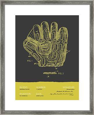 Baseball Glove Patent From 1924 - Gray Yellow Framed Print by Aged Pixel