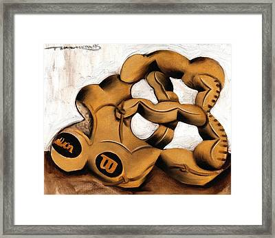 Abstract Baseball Glove Art Print Framed Print