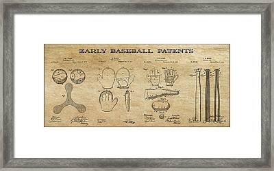 Baseball History 3 Patent Art Framed Print by Daniel Hagerman