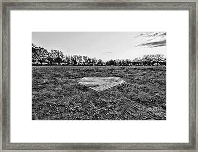 Baseball - Home Plate - Black And White Framed Print by Paul Ward