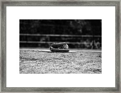 Baseball In Black And White Framed Print