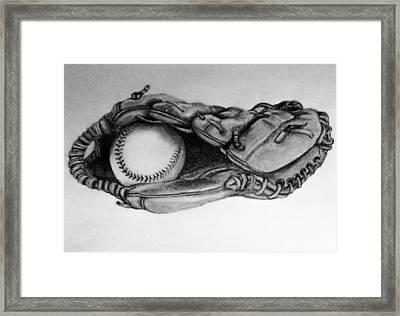 Baseball In Glove Framed Print