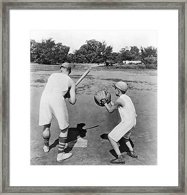 Baseball In Union Suits Framed Print