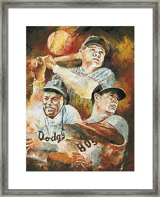 Baseball Legends Babe Ruth Jackie Robinson And Ted Williams Framed Print by Christiaan Bekker