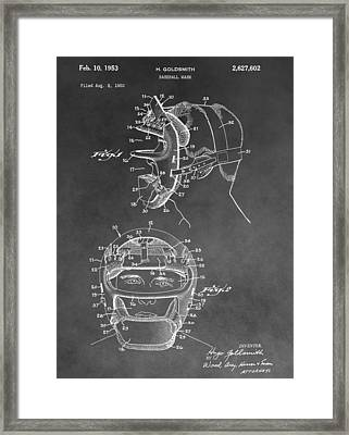 Baseball Mask Patent Black And White Framed Print by Dan Sproul