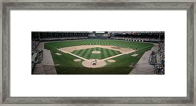 Baseball Match In Progress, U.s Framed Print