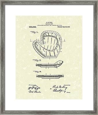 Baseball Mitt 1910 Patent Art Framed Print by Prior Art Design