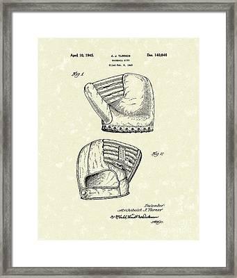 Baseball Mitt 1945 Patent Art Framed Print by Prior Art Design