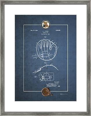 Baseball Mitt By Archibald J. Turner - Vintage Patent Blueprint Framed Print