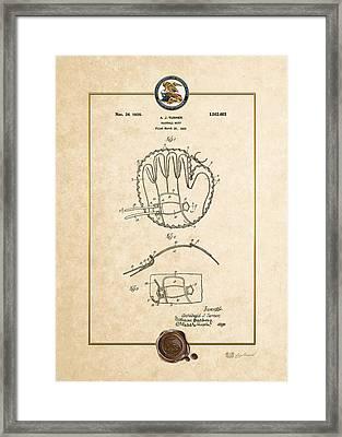 Baseball Mitt By Archibald J. Turner - Vintage Patent Document Framed Print