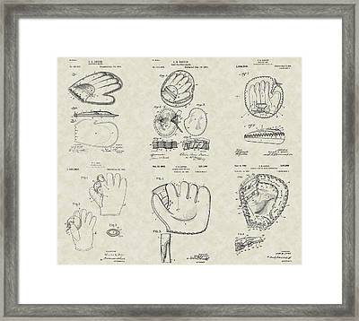 Baseball Mitt Glove Patent Collection Framed Print by PatentsAsArt
