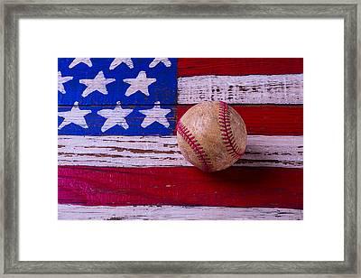Baseball On American Flag Framed Print by Garry Gay