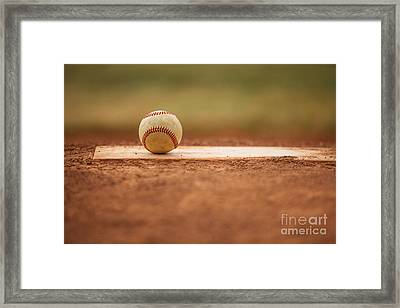 Baseball On The Pitchers Mound Framed Print