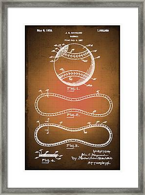 Baseball Patent Blueprint Drawing Sepia Framed Print