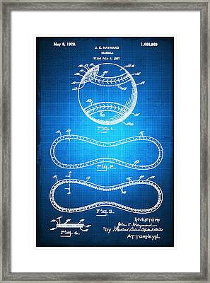 Baseball Patent Blueprint Drawing Framed Print