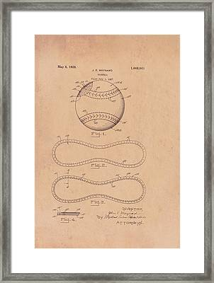 Baseball Patent 1928 Framed Print by Mountain Dreams