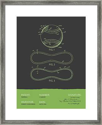 Baseball Patent From 1928 - Gray Green Framed Print by Aged Pixel