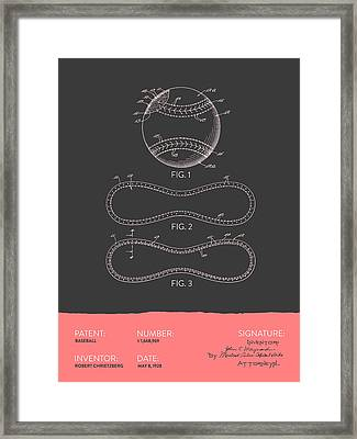 Baseball Patent From 1928 - Gray Salmon Framed Print by Aged Pixel