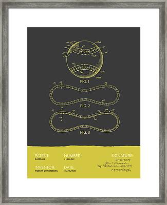 Baseball Patent From 1928 - Gray Yellow Framed Print by Aged Pixel