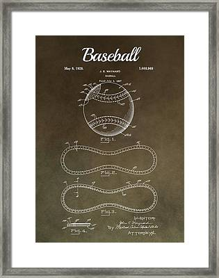 Baseball Patent Antique Brown  Framed Print by Dan Sproul