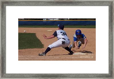 Baseball Pick Off Attempt Framed Print by Thomas Woolworth