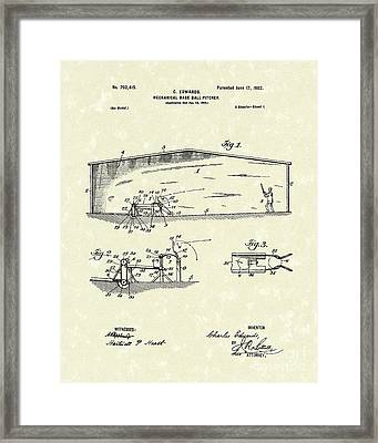 Baseball Pitcher 1902 Patent Art Framed Print by Prior Art Design