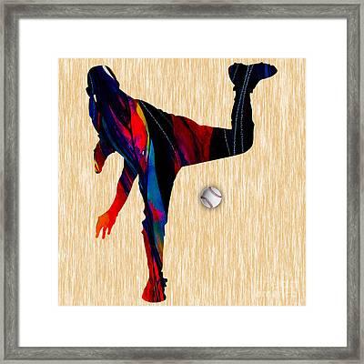 Baseball Pitcher Framed Print by Marvin Blaine
