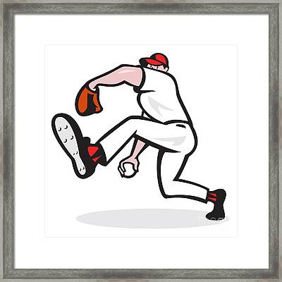 Baseball Pitcher Throwing Ball Cartoon Framed Print by Aloysius Patrimonio