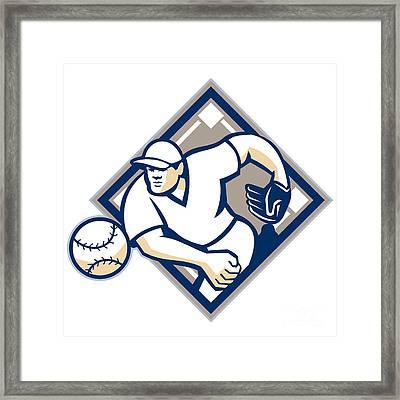 Baseball Pitcher Throwing Ball Diamond Framed Print by Aloysius Patrimonio