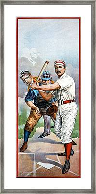 Baseball Player At Bat Framed Print by Unknown