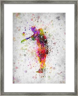 Baseball Player - Taking A Swing Framed Print by Aged Pixel