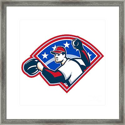 Baseball Player Throwing Ball Retro Framed Print by Aloysius Patrimonio