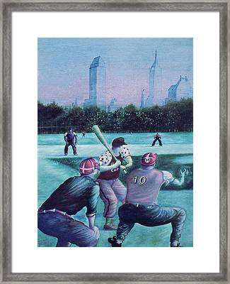 New York Central Park Baseball - Watercolor Art Framed Print