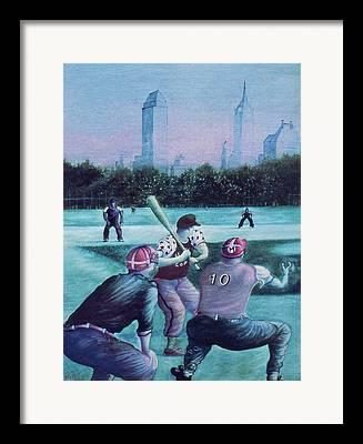 New York Baseball Parks Drawings Framed Prints