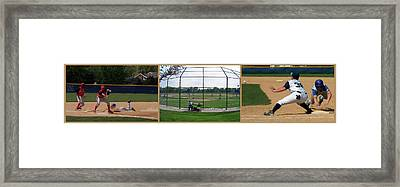 Baseball Playing Hard 3 Panel Composite 01 Framed Print by Thomas Woolworth
