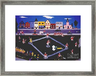 Framed Print featuring the painting Baseball Practice by Joyce Gebauer