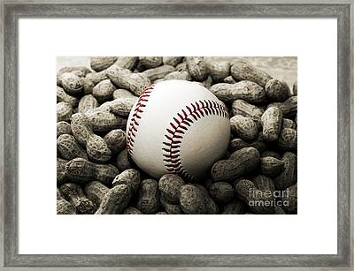 Baseball Season Edgy Bw 2 Framed Print by Andee Design