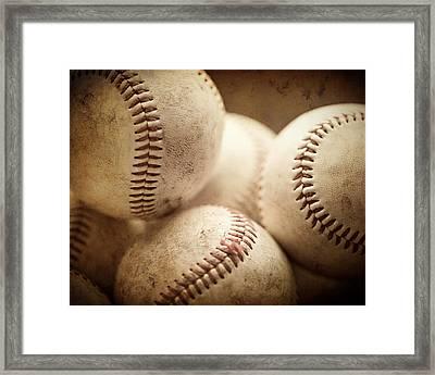 Baseball Sports Art Pile Of Well Worn Baseballs  Framed Print by Lisa Russo
