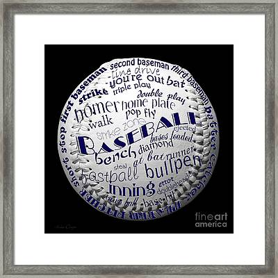 Baseball Terms Typography 2 Framed Print