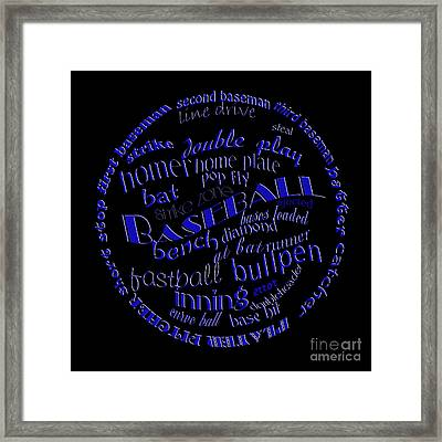 Baseball Terms Typography Blue On Black Framed Print
