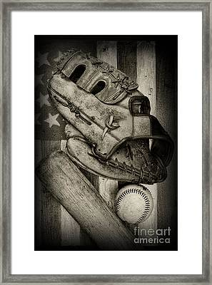Baseball The Lefty In Black And White Framed Print by Paul Ward