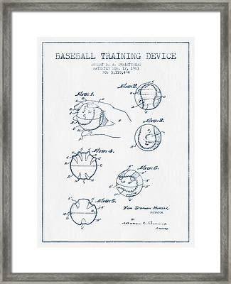 Baseball Training Device Patent Drawing From 1963 - Blue Ink Framed Print by Aged Pixel