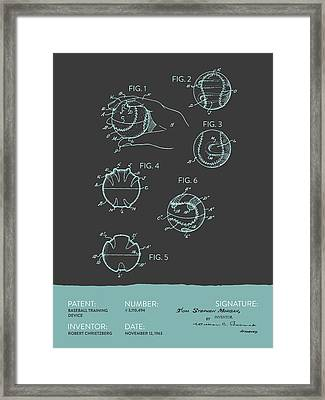 Baseball Training Device Patent From 1963 - Gray Blue Framed Print by Aged Pixel