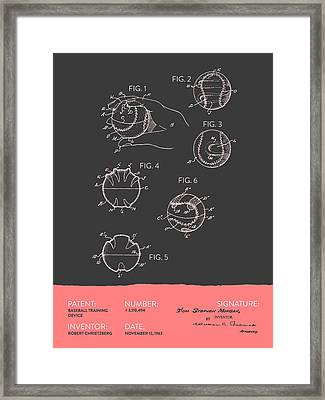Baseball Training Device Patent From 1963 - Gray Salmon Framed Print