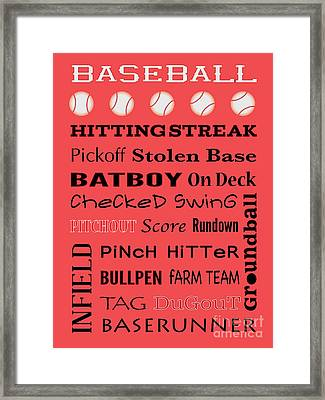 Baseball Typography Framed Print