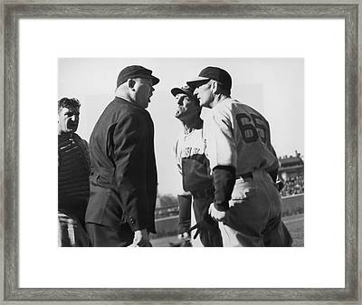 Baseball Umpire Dispute Framed Print by Underwood Archives